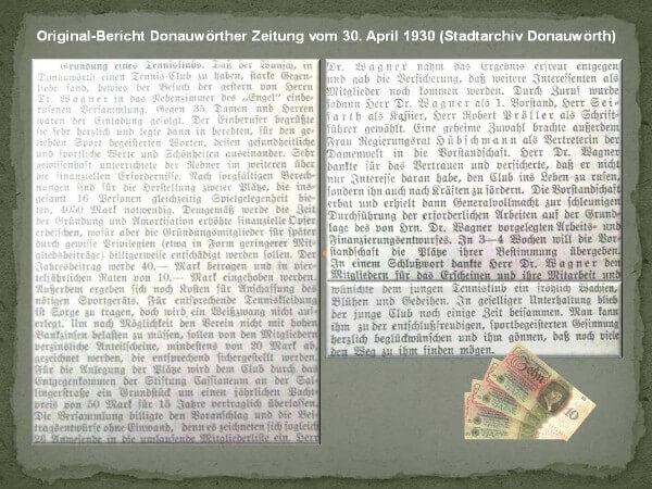 Original Zeitungsbericht Donauwörther Zeitung - 30.04.1930